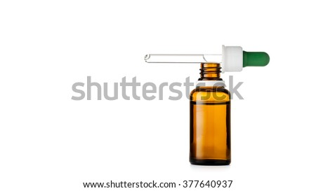 Herbal medicine or aromatherapy dropper bottle isolated on white background with clipping path #377640937
