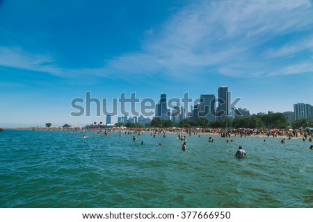 Fourth of July at Fullerton Beach in Chicago #377666950