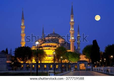 View of the Blue Mosque (Sultanahmet Camii) at night in Istanbul, Turkey #377719588
