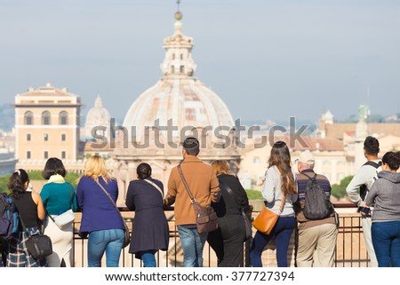 Group of tourist in Rome, Italy. #377727394