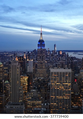 NEW YORK CITY - CIRCA APRIL 2015, Manhanttan downtown skyline at sunset evening with Empire State Building