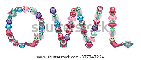 Cute Vector Collection of Bright Owls #377747224