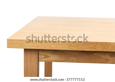 The empty(blank, vacant, hollow) wood(birch, ply) table(desk) with no food, no people isolated white at the studio. #377777152