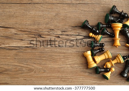 A pile of wooden chest pieces isolated on a wooden background #377777500