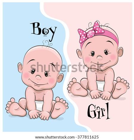 Two Cute Cartoon babies boy and girl