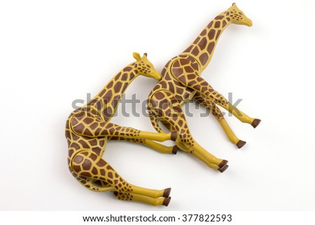 Giraffe Toy Family Isolated on White. #377822593