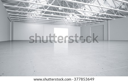 Clean light warehouse car background 3D rendering #377853649