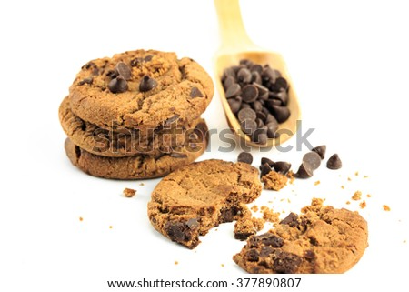 chocolate chip cookie isolated on white background #377890807