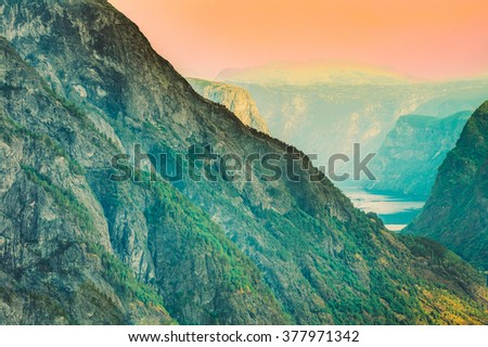 Norwegian mountains background, nature of Norway. Toned filtered photo like instant. Travel and hiking concept #377971342