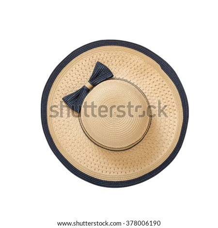 Pretty straw hat with ribbon and bow on white background. Beach hat top view isolated #378006190