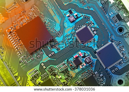Electronic circuit board close up. #378031036