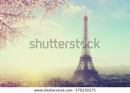 Aerial view of Paris cityscape with Eiffel tower at sunset Vintage colored picture. Business, Love and travel concept