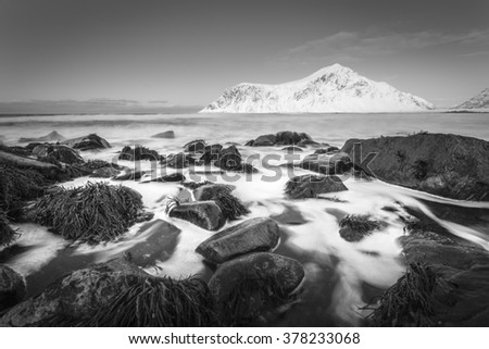 Skagsanden beach, Lofoten Islands, Norway #378233068