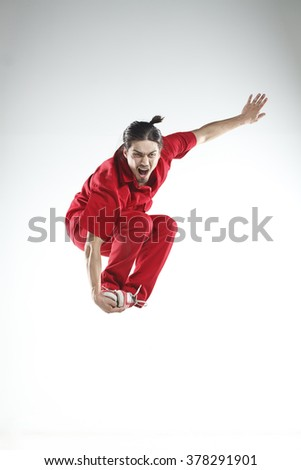 Young men dancer doing jumps and difficult elements #378291901