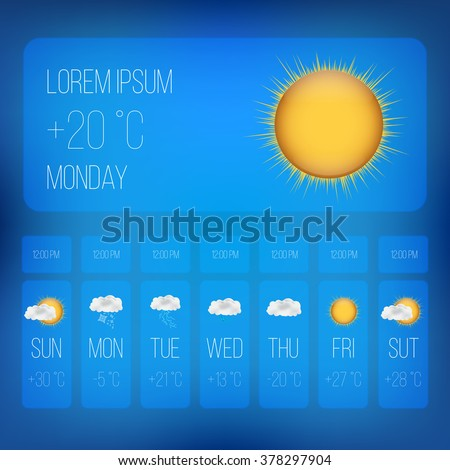Weather Forecast Widget Mobile Application Program. Weather Set Of Meteo Icons. Season Icons. Season Cloud, With Sun, Rain, Snowflakes, Lightning. Vector Illustration #378297904