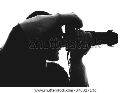 Photographer silhouette isolated on white background #378327136