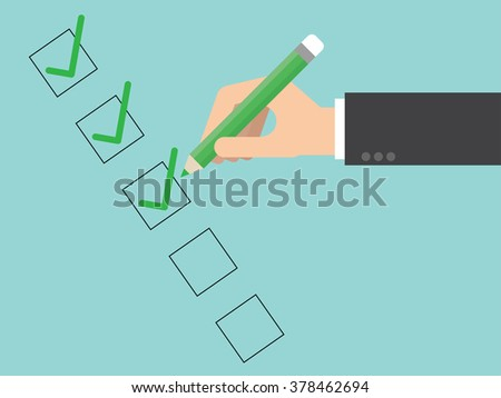 Checklist close up. Flat design for business financial marketing banking advertisement office people life property stock fund commercial in minimal concept cartoon illustration. #378462694