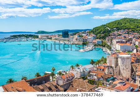 Split panoramic view of town, Dalmatia, Croatia. Royalty-Free Stock Photo #378477469