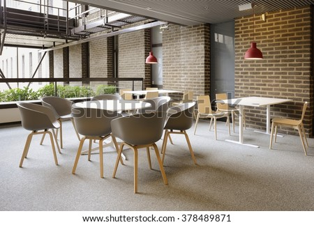 An empty cafeteria interior shot. Large windows letting in light. Royalty-Free Stock Photo #378489871