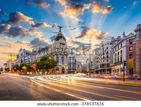 Madrid, Spain cityscape at Calle de Alcala and Gran Via. #378537616