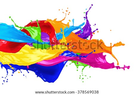 abstract color splash isolated on white background Royalty-Free Stock Photo #378569038