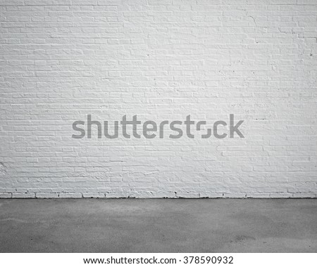 room interior with white brick wall and concrete floor, nobody, empty #378590932