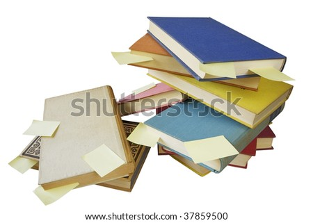 Pile of vintage books with blank stickers, free copy space, isolated on white background #37859500