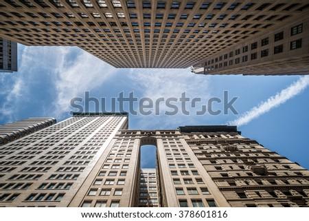 Looking up Lower Manhattan skyscrapers, New York City #378601816