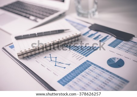 Showing business and financial report. Accounting #378626257