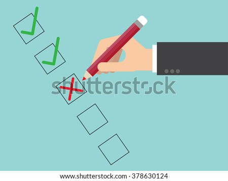 Poor quality checklist close up. Flat design for business financial marketing banking advertising web concept cartoon illustration. #378630124
