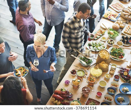 Food Buffet Catering Dining Eating Party Sharing Concept #378691114
