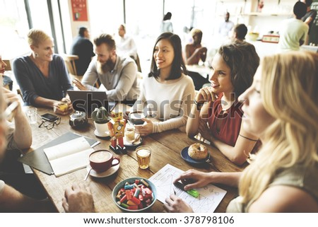 Diversity Friends Meeting Coffee Shop Brainstorming Concept #378798106