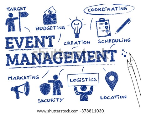 Event management. Chart with keywords and icons Royalty-Free Stock Photo #378811030