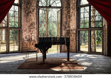 An old piano in a beautiful lost place #378858604