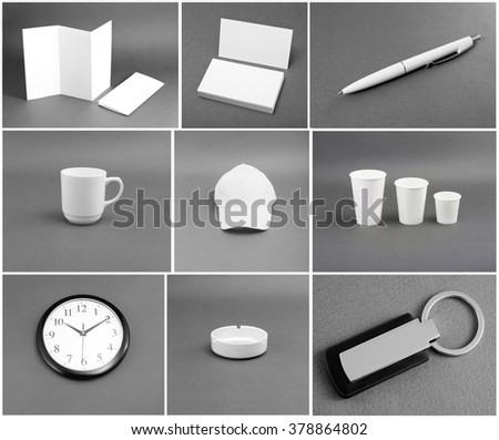 Set of white stationery on gray background #378864802