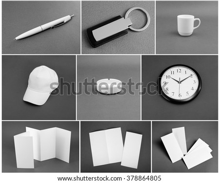 Set of white stationery on gray background #378864805