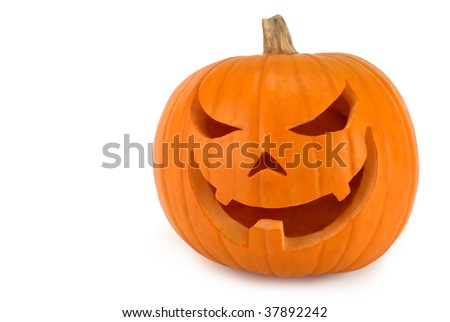 Spooky Jack-o-lantern with evil lopsided grin on white background #37892242