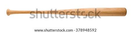 wooden baseball bat isolated on white background Royalty-Free Stock Photo #378948592