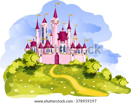 The vector illustration of tale pink princess castle.