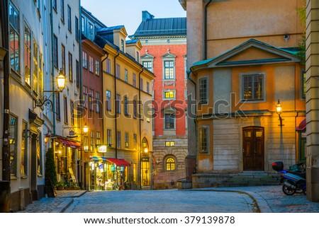 STOCKHOLM, SWEDEN - NOV 11, 2015 - Along the streets of Gamla Stan in Stockholm, Sweden #379139878