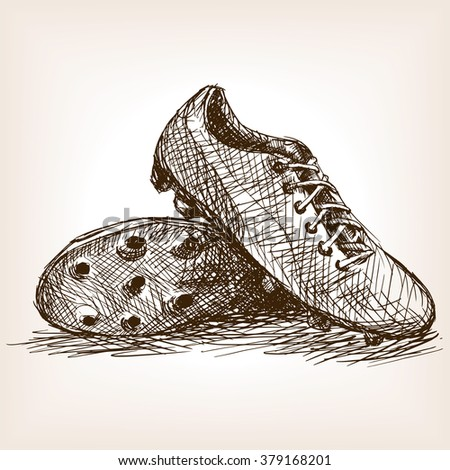 Football boots sketch style raster illustration. Old engraving imitation. Football boots hand drawn sketch imitation