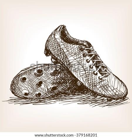 Football boots sketch style raster illustration. Old engraving imitation. Football boots hand drawn sketch imitation
