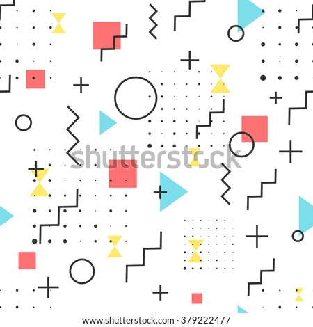 Hipster Pattern Abstract Retro 80's Jumble Geometric Line Shapes. fashion style seamless  background. Vector illustration for textile fabric design, paper and website design #379222477
