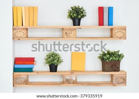 Wooden shelf Royalty-Free Stock Photo #379335919