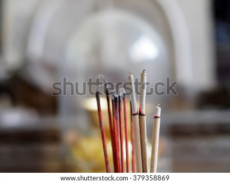 Joss sticks incense burning #379358869