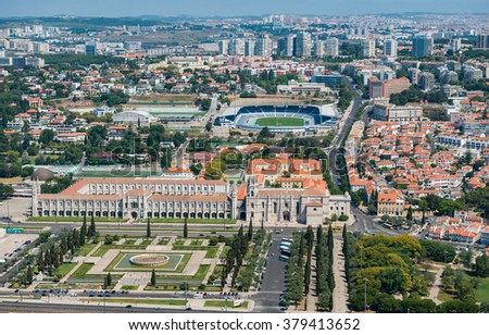 Aerial view of the Jeronimos Monastery and the park, Lisbon, Portugal #379413652