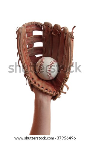 A baseball is caught in a worn baseball glove. Royalty-Free Stock Photo #37956496
