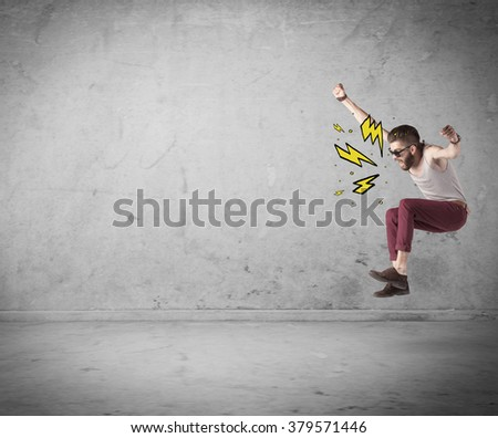 An angry hipster guy in casual clothes shouting heavily with drawn thunder sign illustration concept #379571446