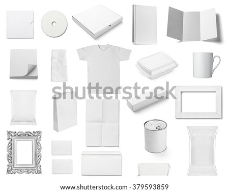 collection of  various white business print templates on white background. each one is shot separately #379593859