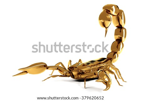 Golden scorpio isolated on white background. Result of rendering 3d model